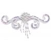 Motif Beaded 19cmx7cm Swirl Shape 1Pc Silver Aurora Borealis